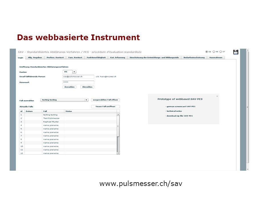 Das webbasierte Instrument