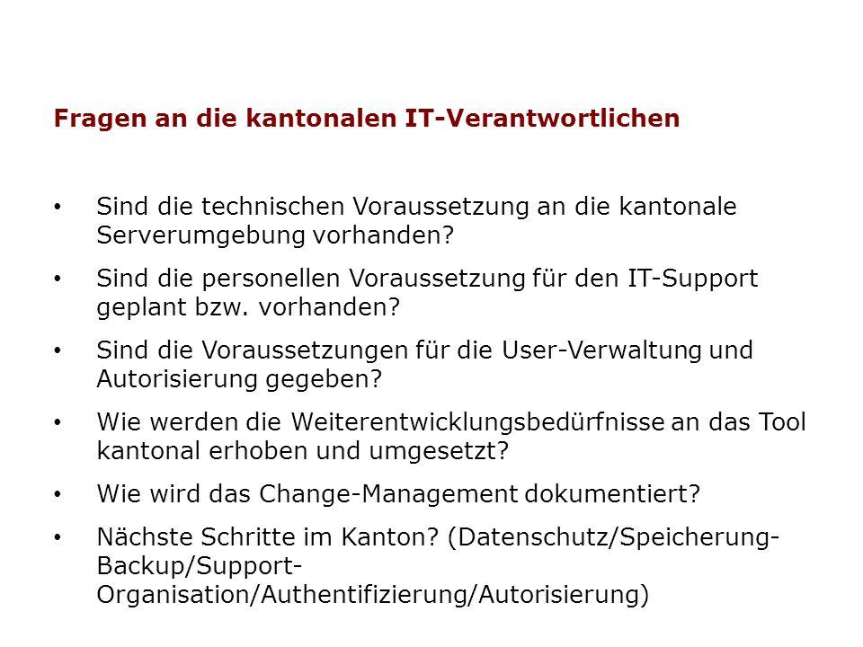 Fragen an die kantonalen IT-Verantwortlichen