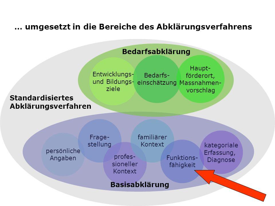 … umgesetzt in die Bereiche des Abklärungsverfahrens
