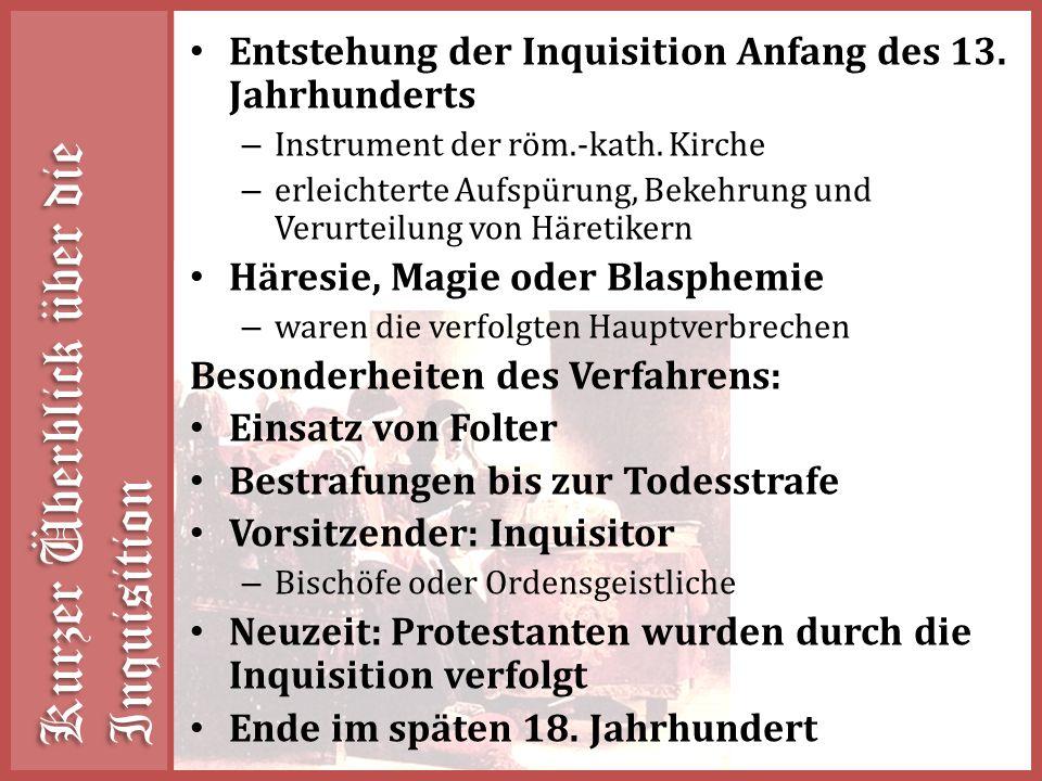 Kurzer Überblick über die Inquisition