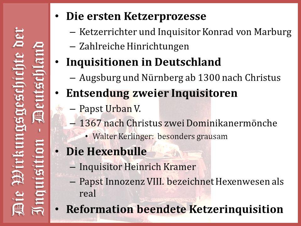 Die Wirkungsgeschichte der Inquisition - Deutschland