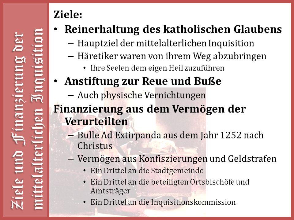 Ziele und Finanzierung der mittelalterlichen Inquisition
