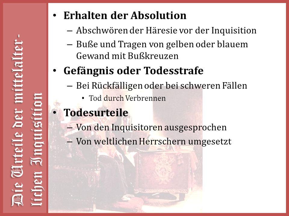 Die Urteile der mittelalter-lichen Inquisition