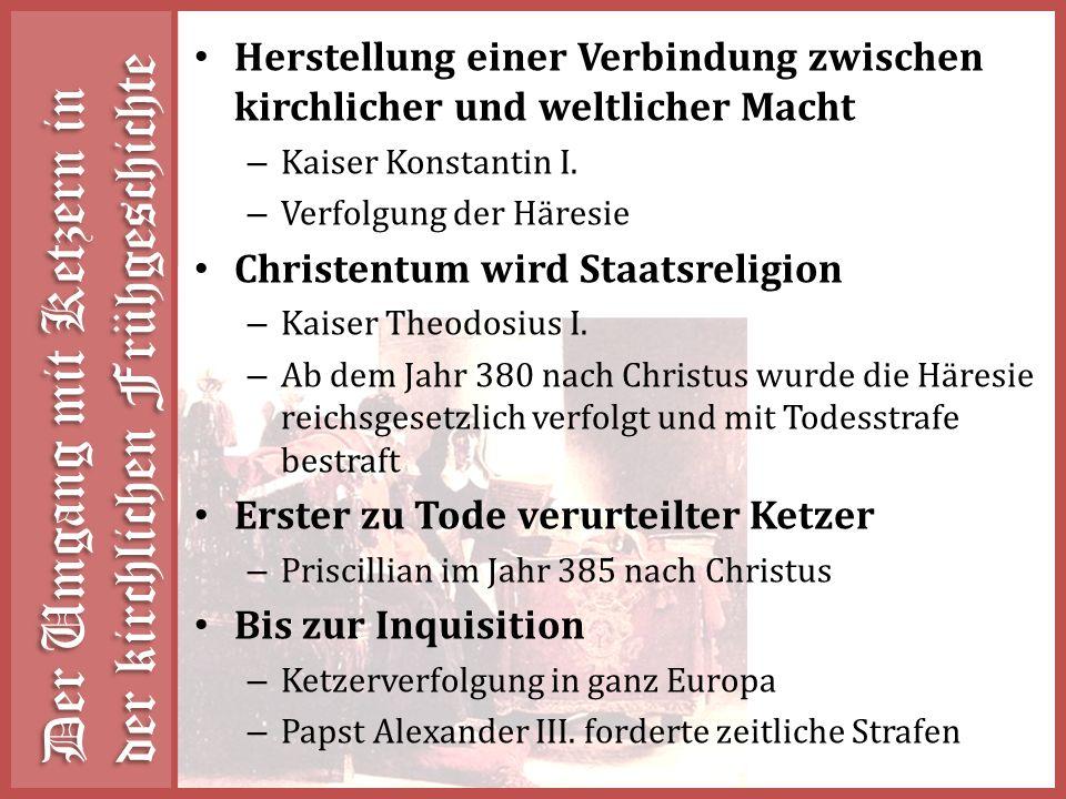 Der Umgang mit Ketzern in der kirchlichen Frühgeschichte