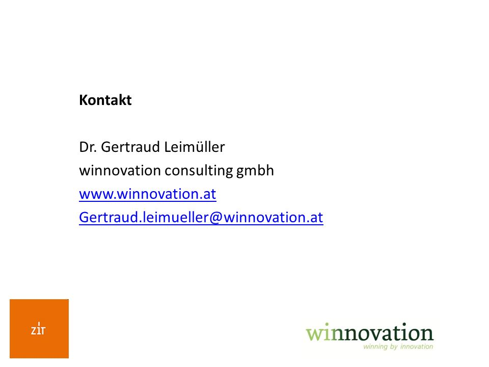 Kontakt Dr. Gertraud Leimüller. winnovation consulting gmbh.