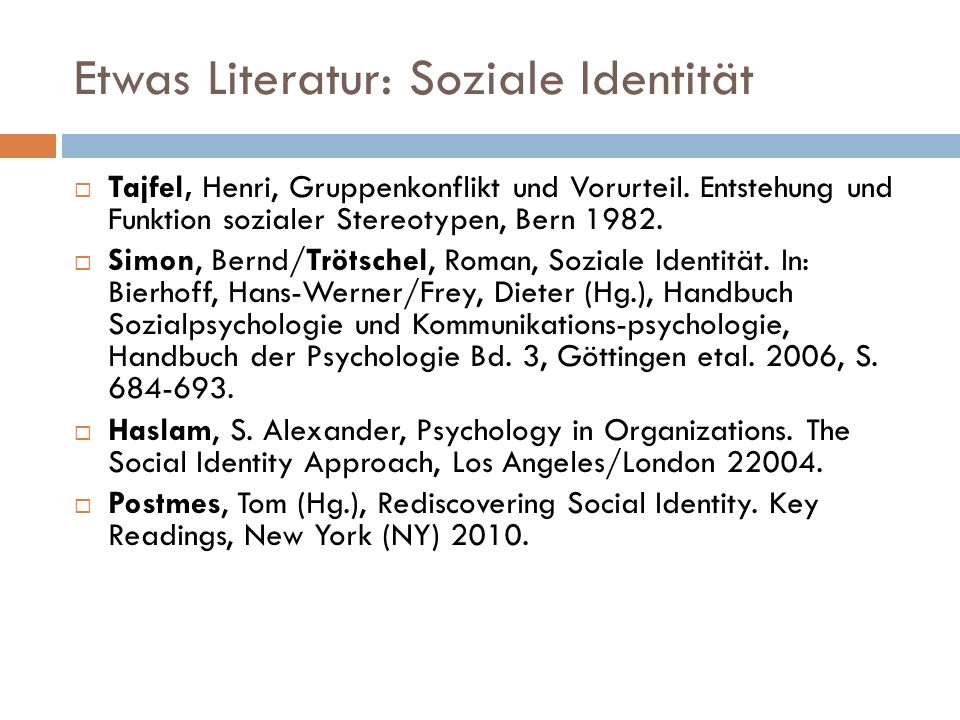 Etwas Literatur: Soziale Identität