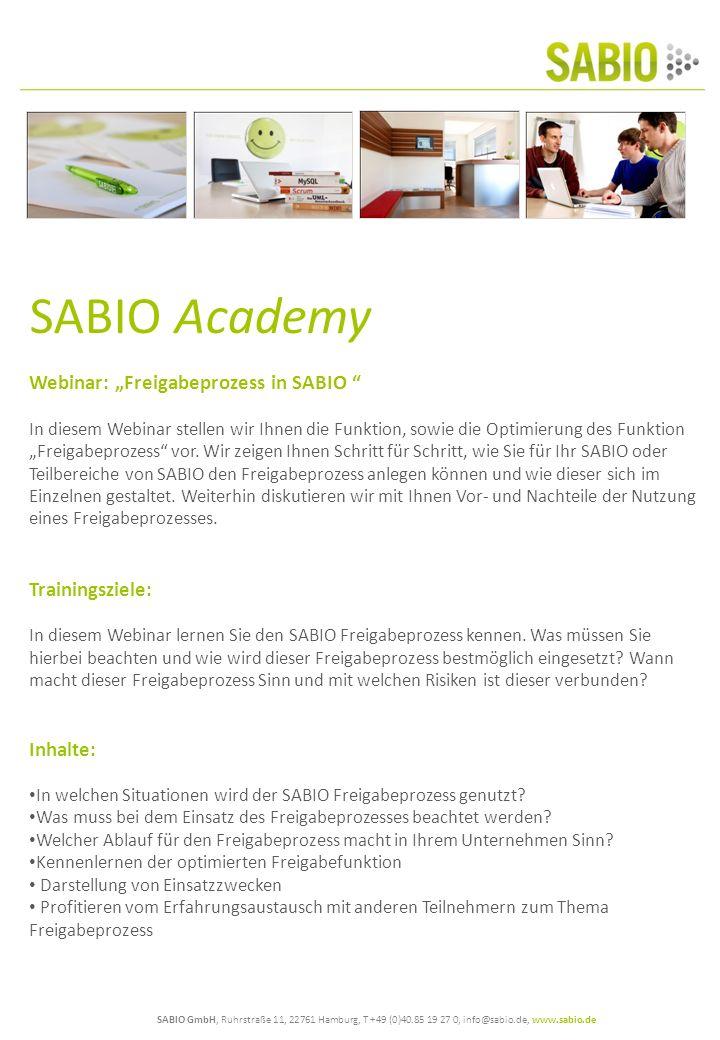 "SABIO Academy Webinar: ""Freigabeprozess in SABIO Trainingsziele:"