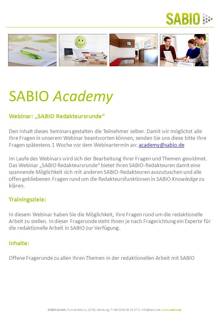 """SABIO Academy Webinar: """"SABIO Redakteursrunde Trainingsziele:"""