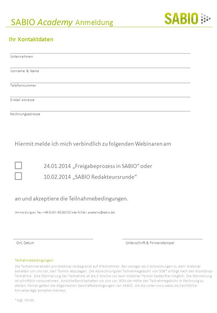 SABIO Academy Anmeldung