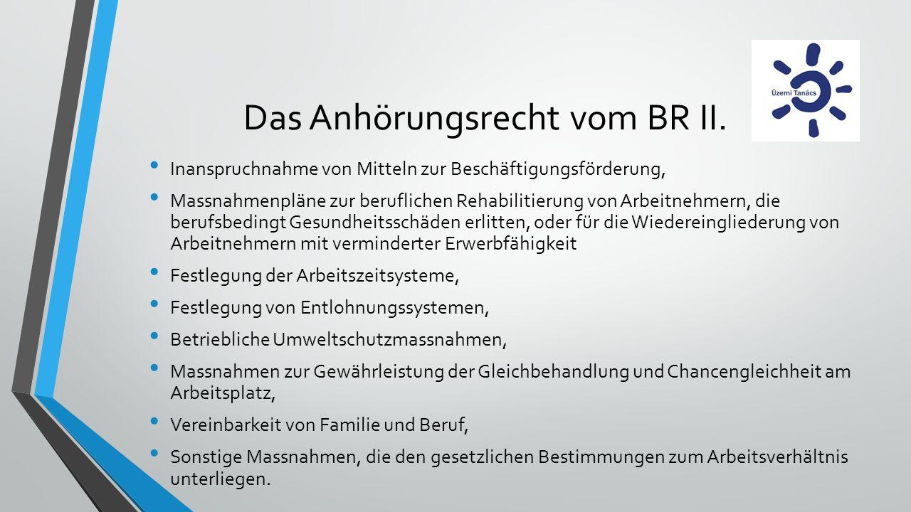 Das Anhörungsrecht vom BR II.