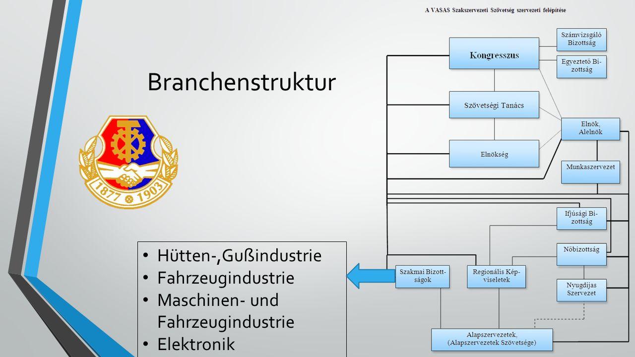 Branchenstruktur Hütten-,Gußindustrie Fahrzeugindustrie