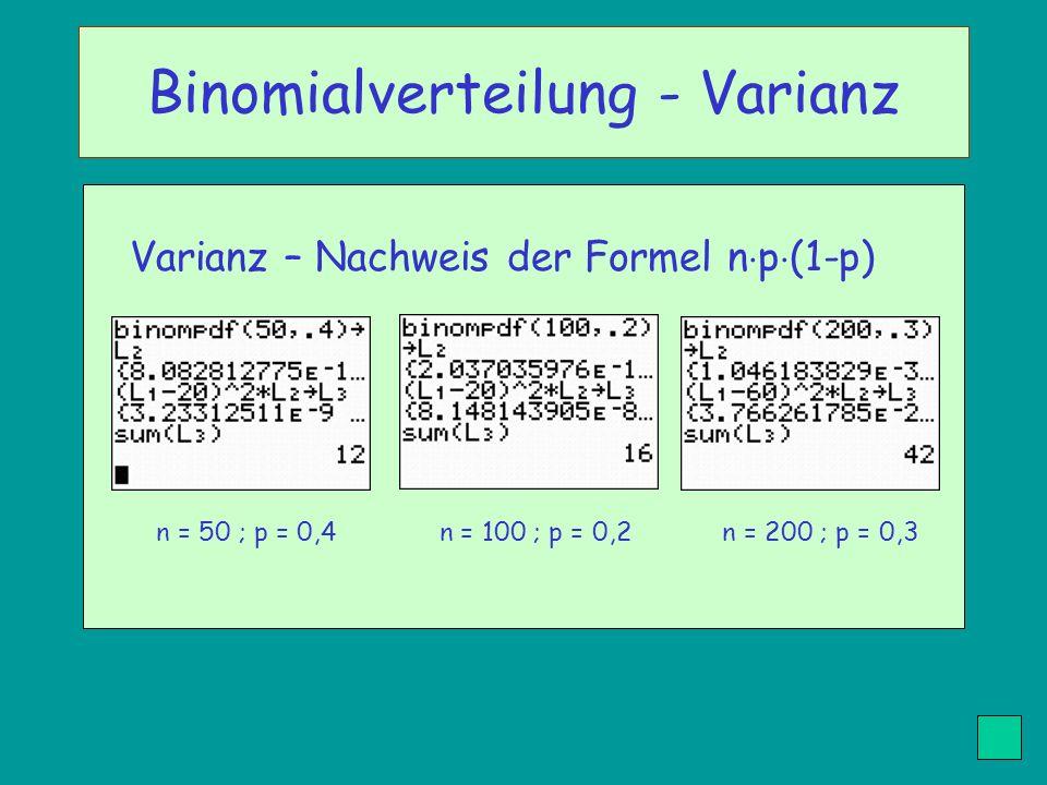 Binomialverteilung - Varianz