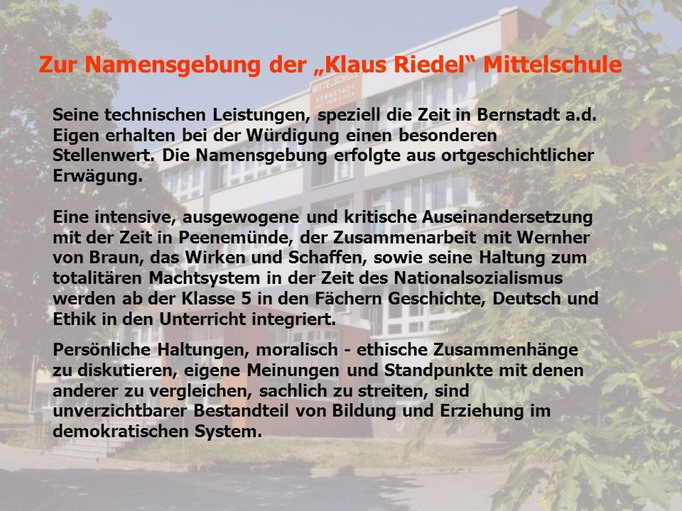 """Zur Namensgebung der """"Klaus Riedel Mittelschule"""