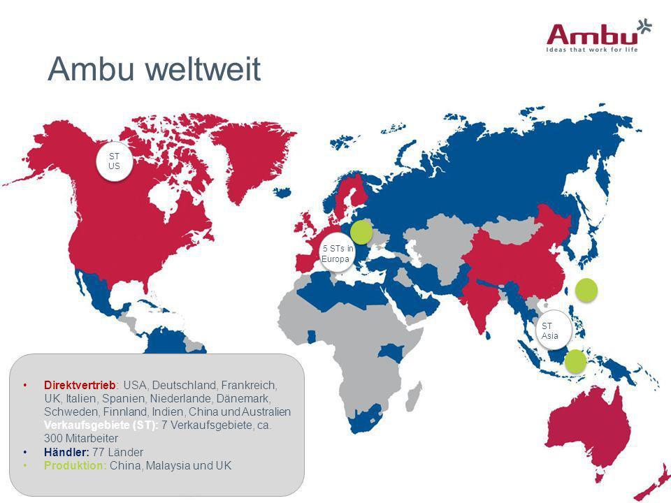 Ambu weltweit ST US. 5 STs in. Europa. ST Asia.