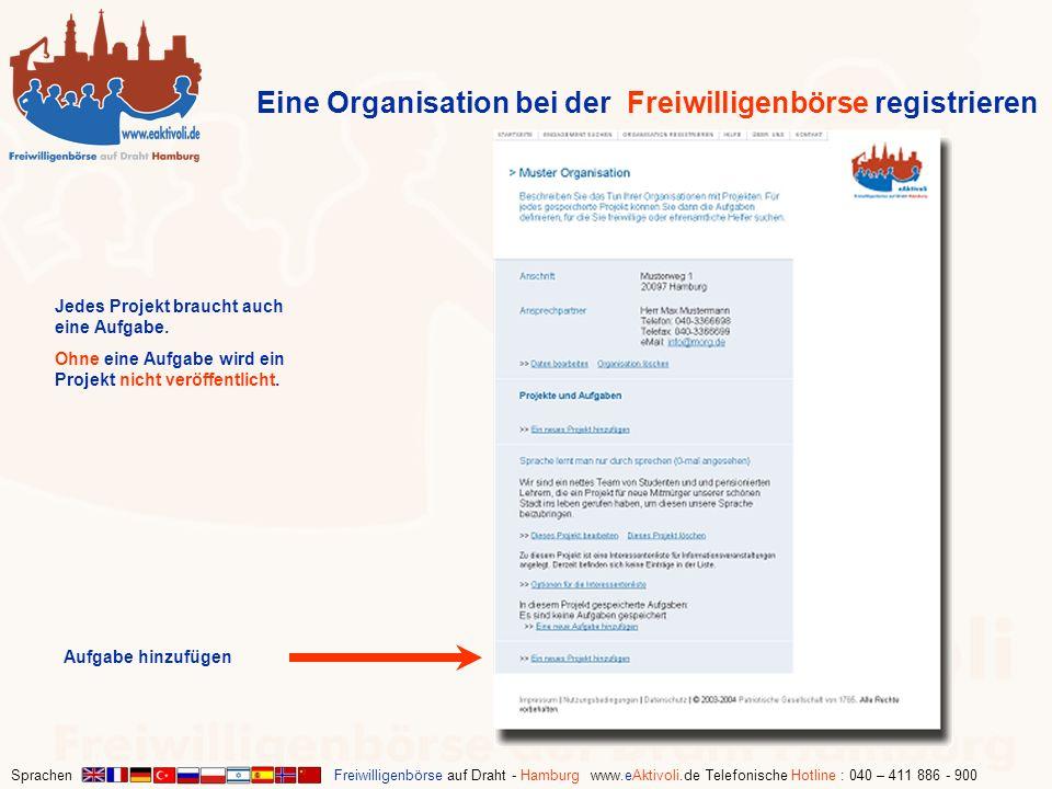 Eine Organisation bei der Freiwilligenbörse registrieren