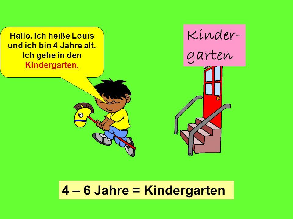 Kinder- garten 4 – 6 Jahre = Kindergarten