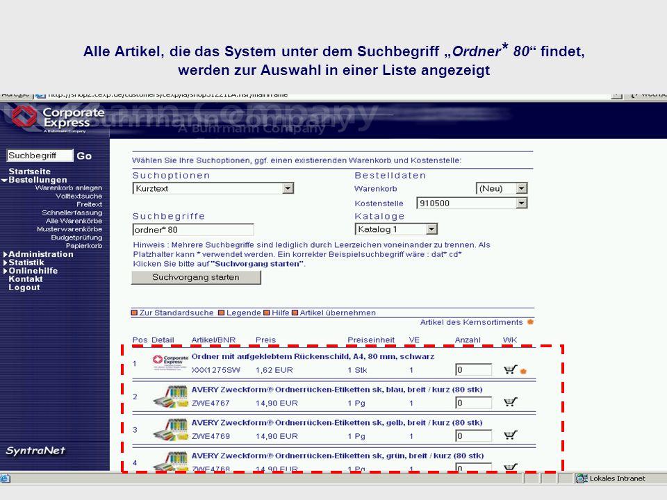 """Alle Artikel, die das System unter dem Suchbegriff """"Ordner"""