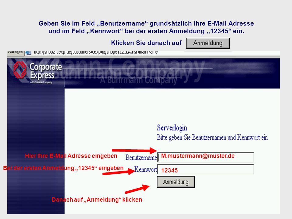 """Geben Sie im Feld """"Benutzername grundsätzlich Ihre E-Mail Adresse und im Feld """"Kennwort bei der ersten Anmeldung """"12345 ein. Klicken Sie danach auf"""