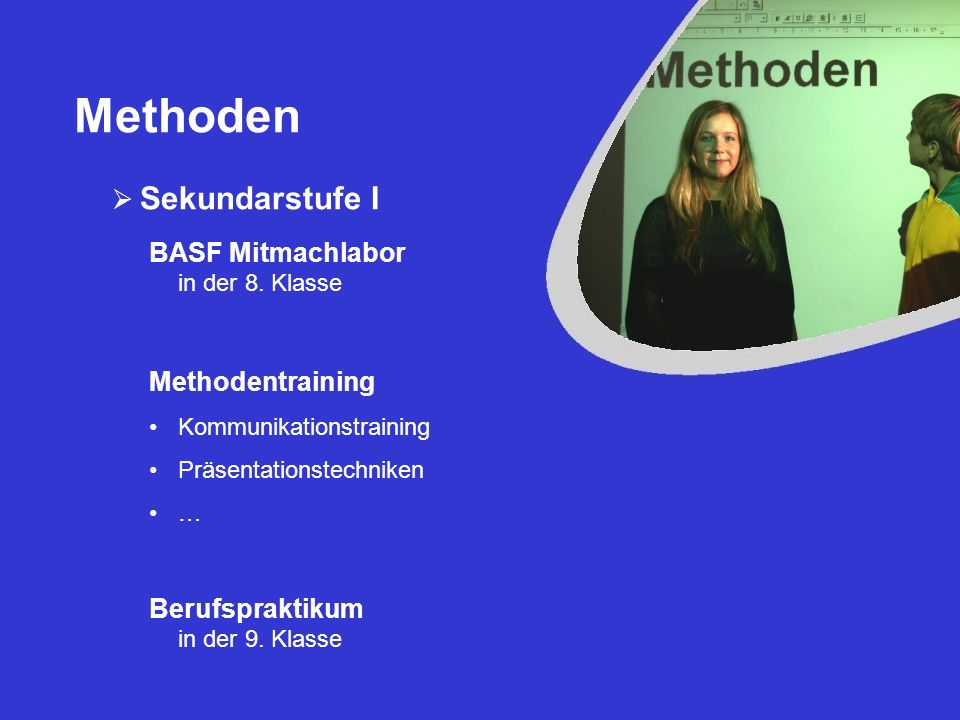 Methoden Sekundarstufe I BASF Mitmachlabor in der 8. Klasse