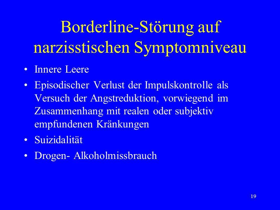 Borderline-Störung auf narzisstischen Symptomniveau