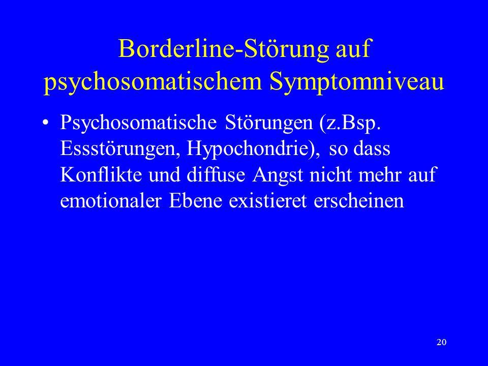 Borderline-Störung auf psychosomatischem Symptomniveau