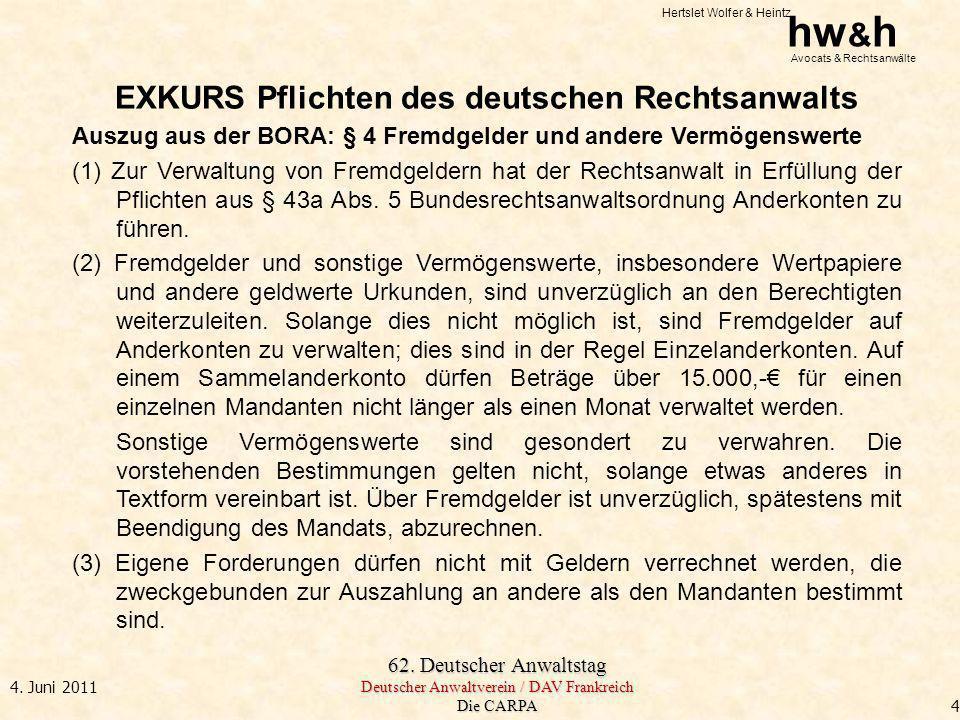 EXKURS Pflichten des deutschen Rechtsanwalts