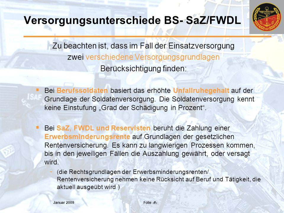 Versorgungsunterschiede BS- SaZ/FWDL