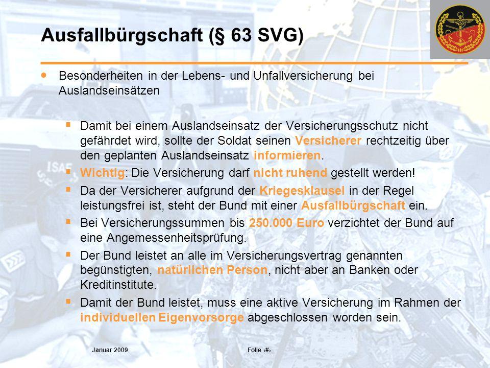 Ausfallbürgschaft (§ 63 SVG)