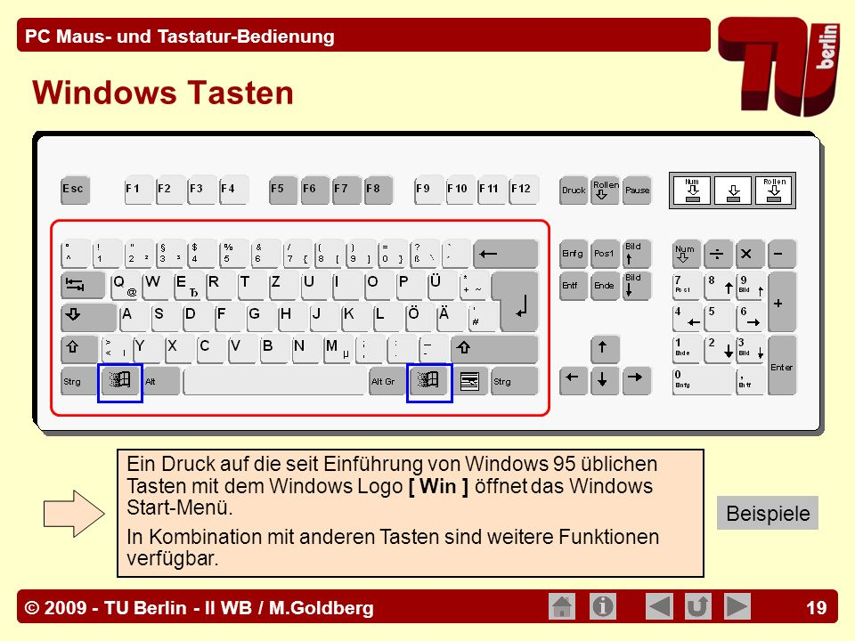 Windows Tasten Beispiele