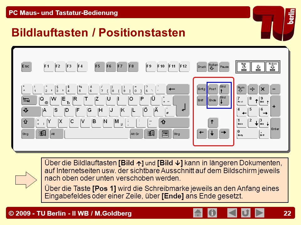 Bildlauftasten / Positionstasten
