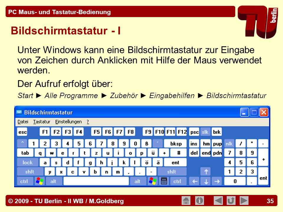 Bildschirmtastatur - I