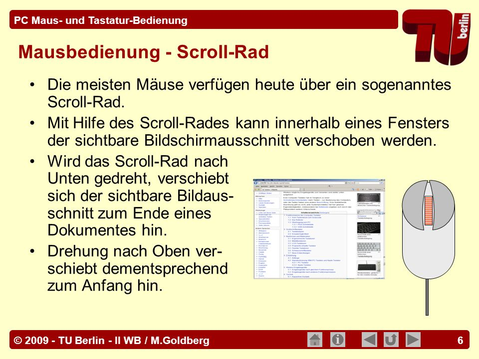 Mausbedienung - Scroll-Rad