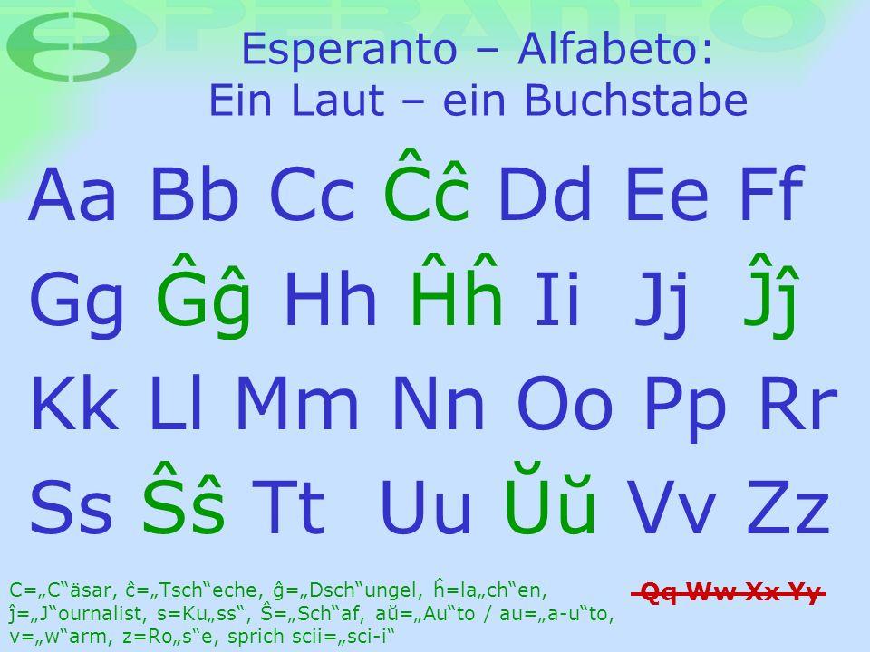 Esperanto – Alfabeto: Ein Laut – ein Buchstabe