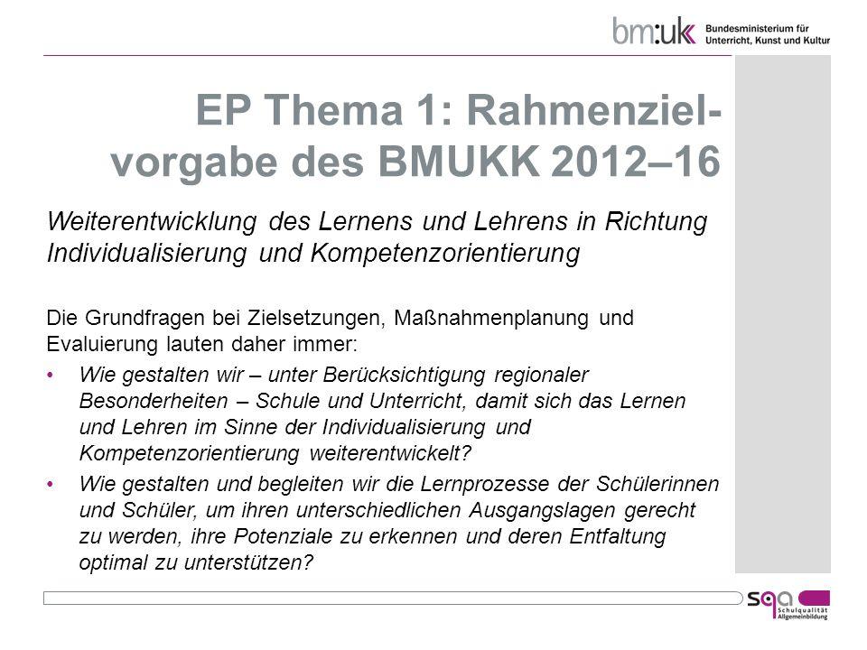 EP Thema 1: Rahmenziel- vorgabe des BMUKK 2012–16