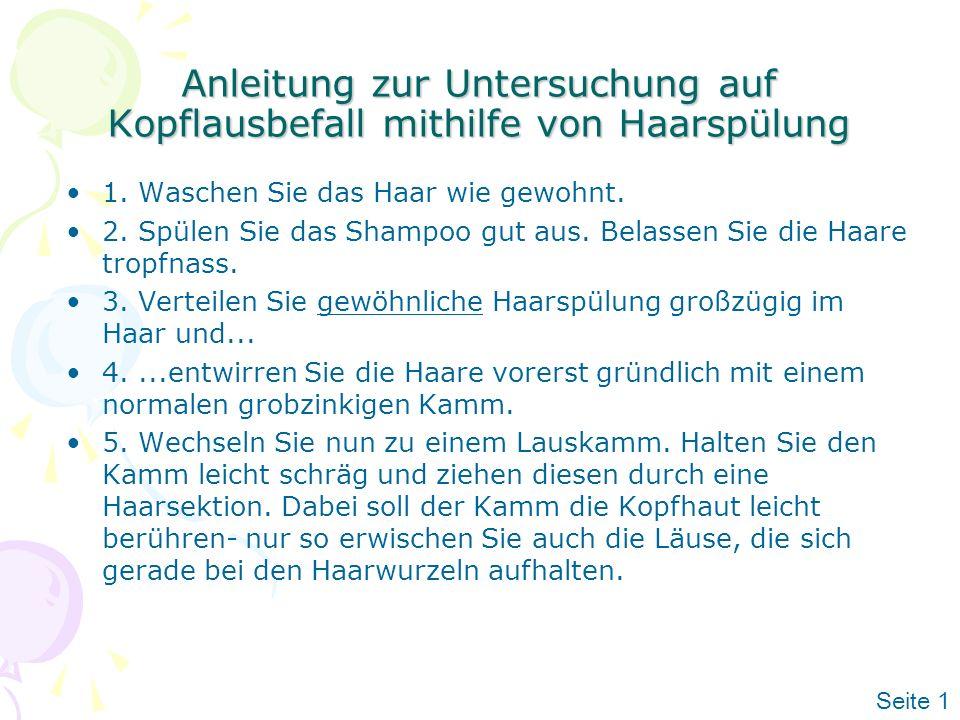Anleitung zur Untersuchung auf Kopflausbefall mithilfe von Haarspülung
