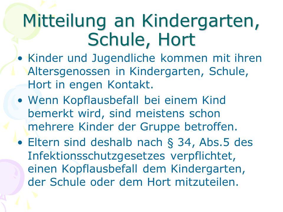 Mitteilung an Kindergarten, Schule, Hort