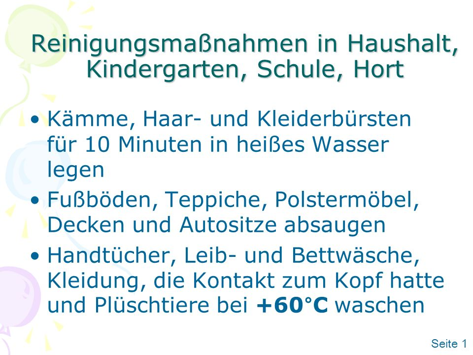 Reinigungsmaßnahmen in Haushalt, Kindergarten, Schule, Hort