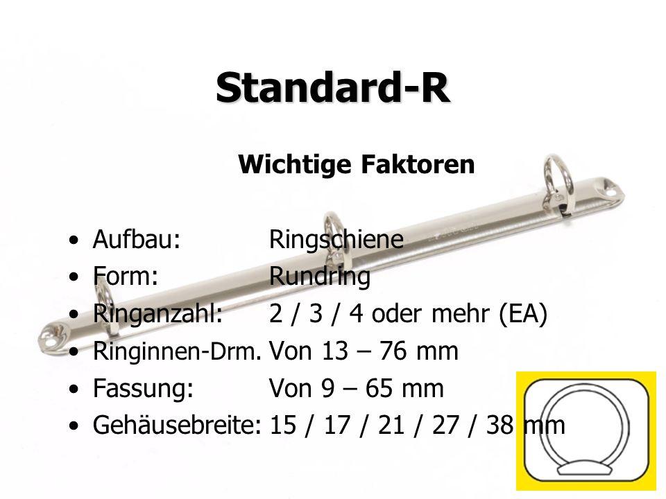 Standard-R Wichtige Faktoren Aufbau: Ringschiene Form: Rundring