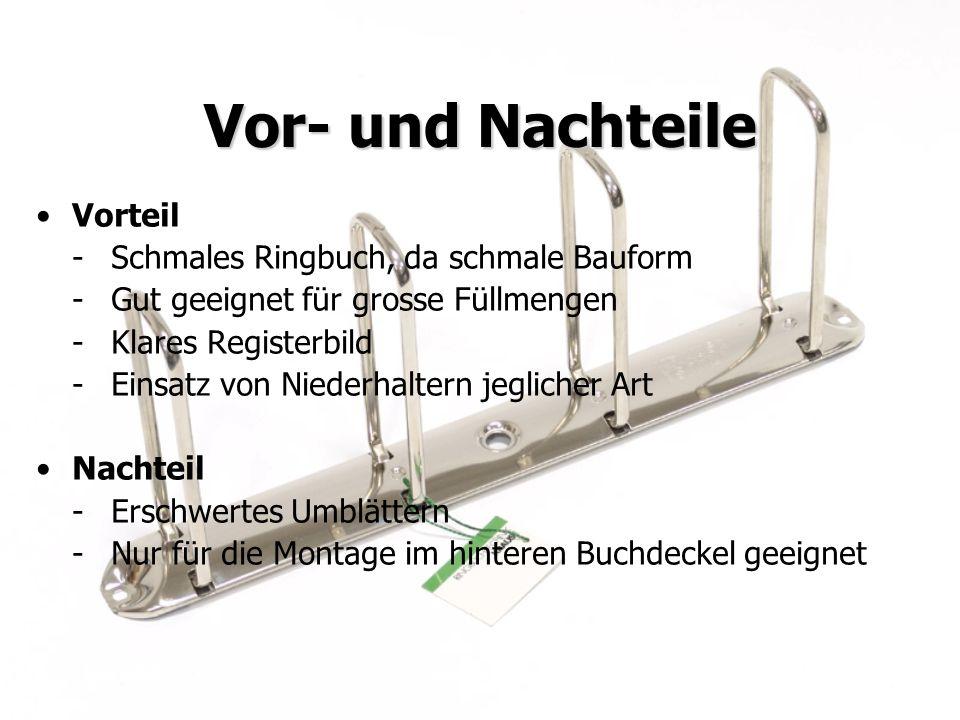Vor- und Nachteile Vorteil - Schmales Ringbuch, da schmale Bauform
