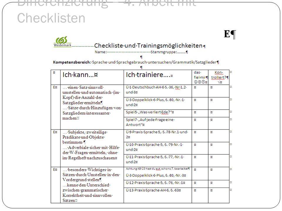 Differenzierung – 4. Arbeit mit Checklisten