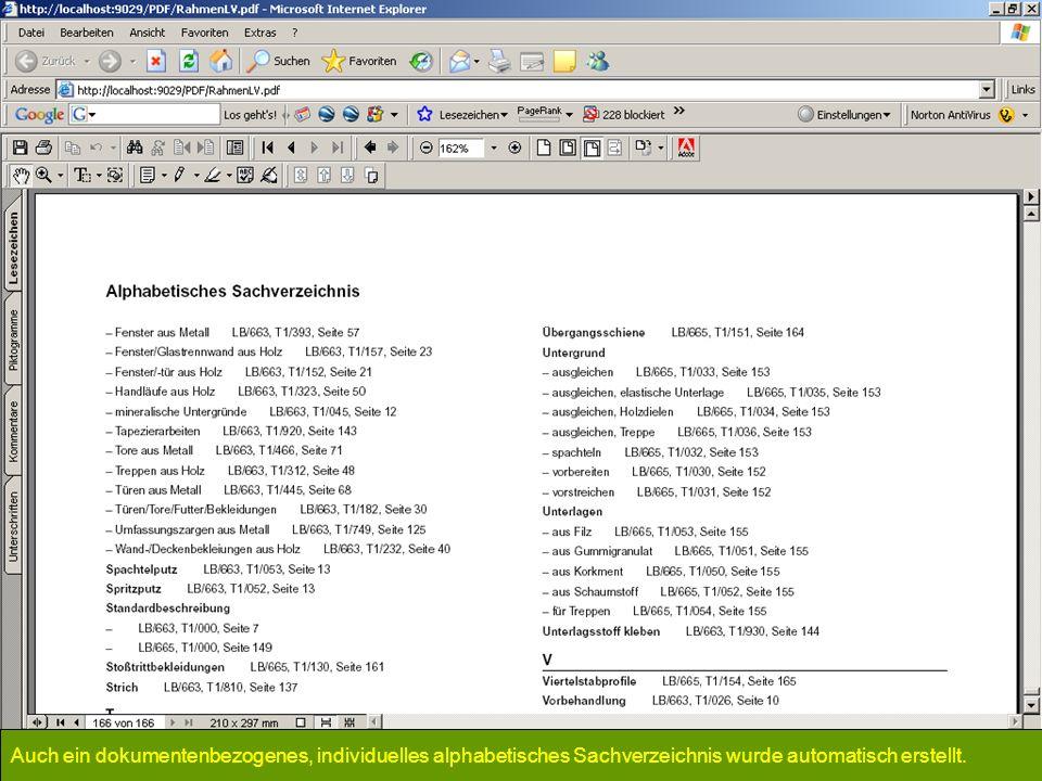 Auch ein dokumentenbezogenes, individuelles alphabetisches Sachverzeichnis wurde automatisch erstellt.