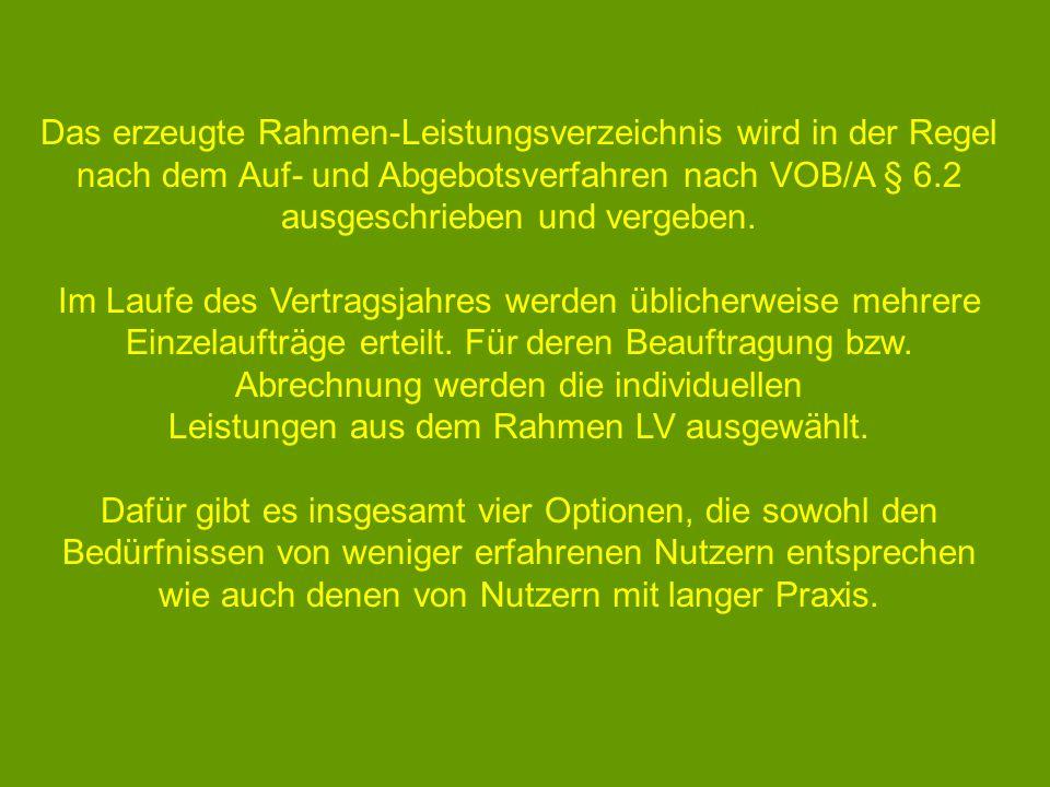 Leistungen aus dem Rahmen LV ausgewählt.