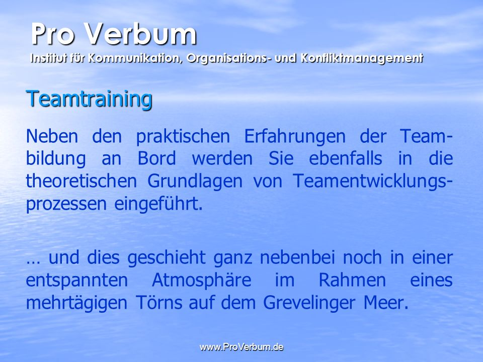 Pro Verbum Institut für Kommunikation, Organisations- und Konfliktmanagement