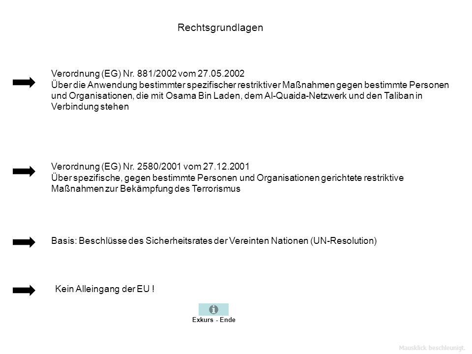 Rechtsgrundlagen Verordnung (EG) Nr. 881/2002 vom 27.05.2002