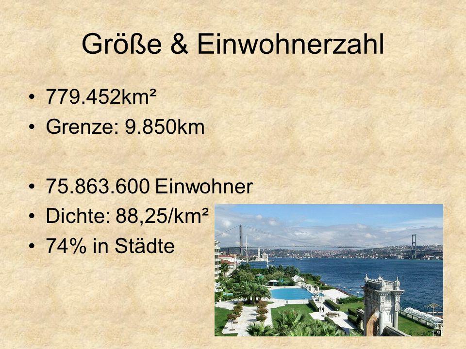 Größe & Einwohnerzahl 779.452km² Grenze: 9.850km 75.863.600 Einwohner
