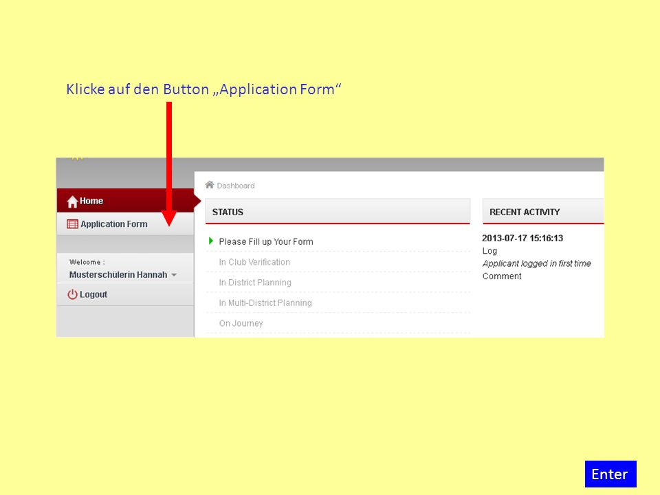 "Klicke auf den Button ""Application Form"