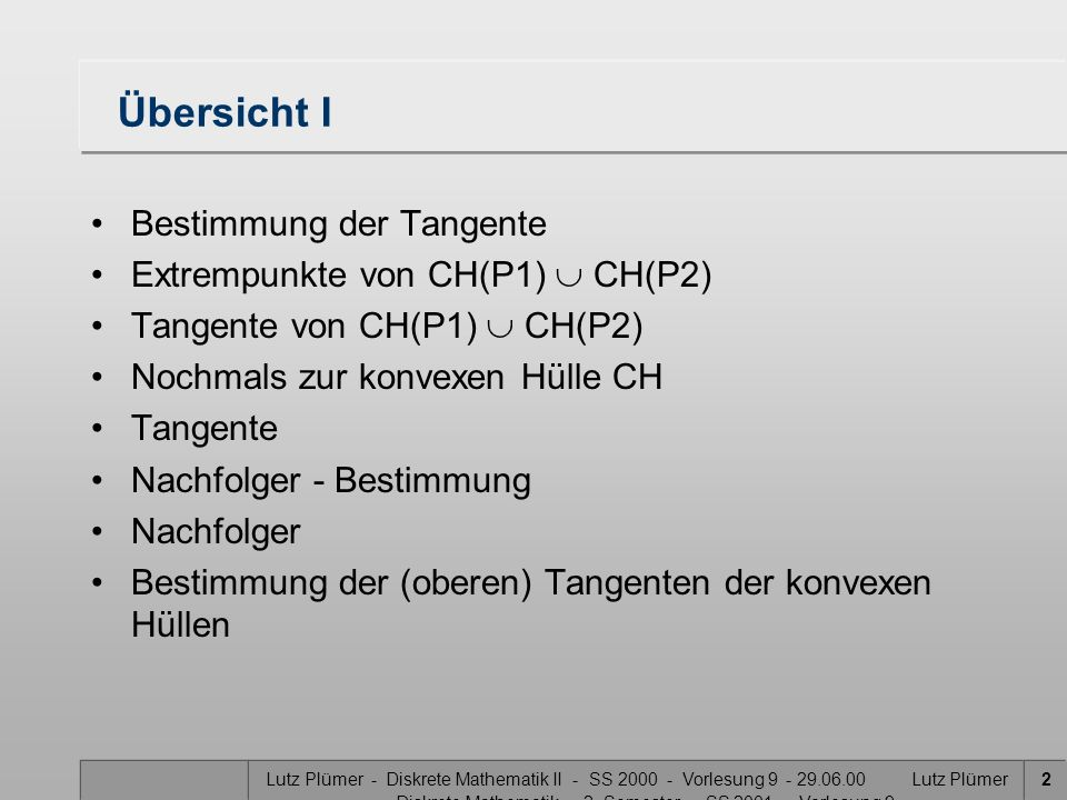 Übersicht I Bestimmung der Tangente Extrempunkte von CH(P1)  CH(P2)