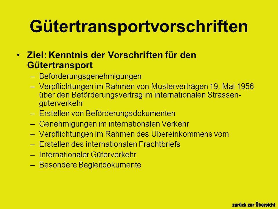 Gütertransportvorschriften