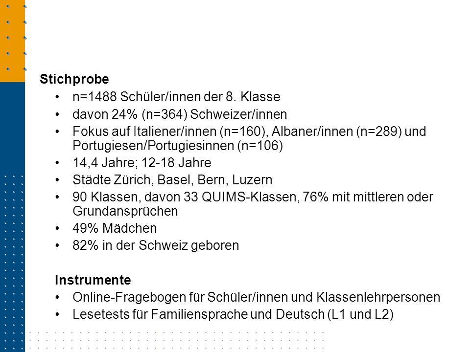 n=1488 Schüler/innen der 8. Klasse davon 24% (n=364) Schweizer/innen