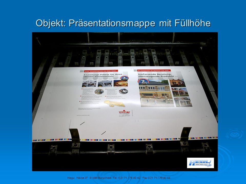 Objekt: Präsentationsmappe mit Füllhöhe